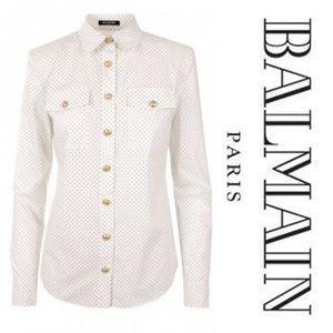 AUTHENTIC BALMAIN!! • Gold Button Polka Dot Blouse